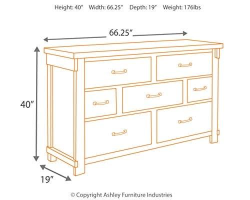 Ashley Furniture Signature Design Lakeleigh Dresser Casual 7 Drawers Rustic Brown Finish Dark Zinc Hardware 0 2