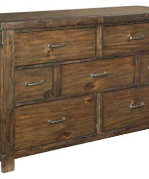 Ashley Furniture Signature Design Lakeleigh Dresser Casual 7 Drawers Rustic Brown Finish Dark Zinc Hardware 0 300x360