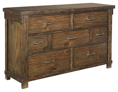 Ashley Furniture Signature Design Lakeleigh Dresser Casual 7 Drawers Rustic Brown Finish Dark Zinc Hardware 0