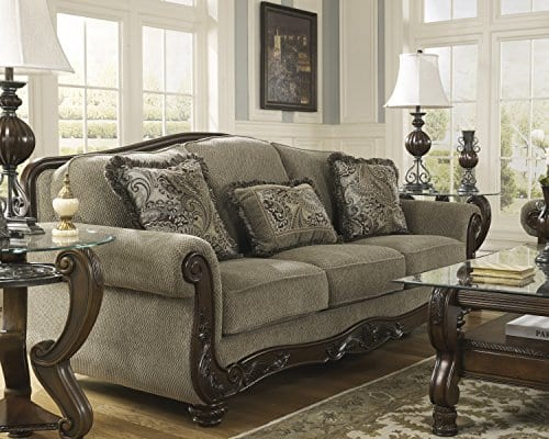 Ashley Furniture Signature Design Martinsburg Sofa Traditional Couch Meadow With Brown Base 0 1