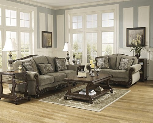 Ashley Furniture Signature Design Martinsburg Sofa Traditional Couch Meadow With Brown Base 0 2