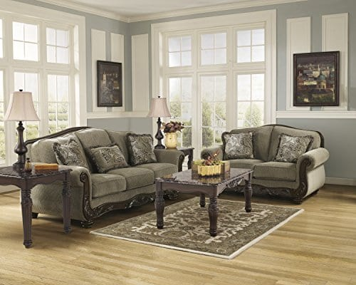 Ashley Furniture Signature Design Martinsburg Sofa Traditional Couch Meadow With Brown Base 0 3