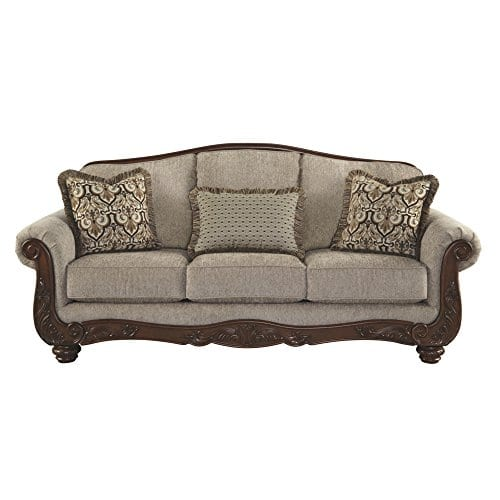 Ashley Furniture Signature Design Martinsburg Sofa Traditional Couch Meadow With Brown Base 0