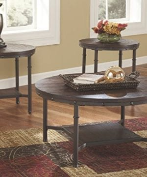Ashley Furniture Signature Design Sandling Occasional Table Set End Tables And Coffee Table 3 Piece Round Rustic Brown 0 0 300x360