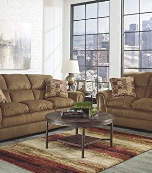 Ashley Furniture Signature Design Sandling Occasional Table Set End Tables And Coffee Table 3 Piece Round Rustic Brown 0 1 300x342
