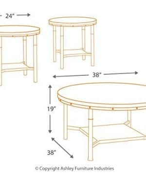 Ashley Furniture Signature Design Sandling Occasional Table Set End Tables And Coffee Table 3 Piece Round Rustic Brown 0 3 300x360