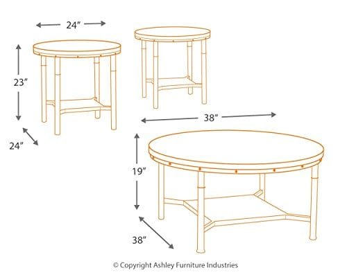Ashley Furniture Signature Design Sandling Occasional Table Set End Tables And Coffee Table 3 Piece Round Rustic Brown 0 3