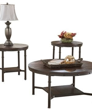 Ashley Furniture Signature Design Sandling Occasional Table Set End Tables And Coffee Table 3 Piece Round Rustic Brown 0 300x360