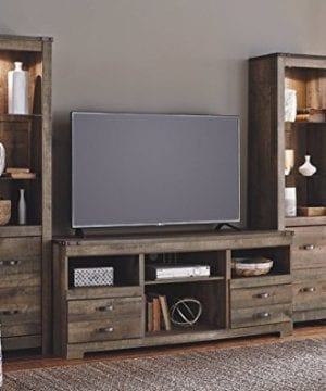 Ashley Furniture Signature Design Trinell Large TV Stand Rustic 63 Inch Fireplace Option Brown 0 0 300x360