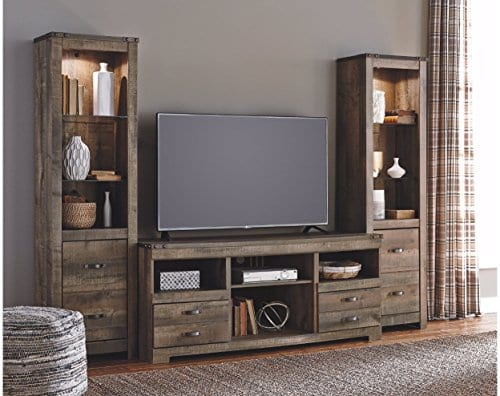 Ashley Furniture Signature Design Trinell Large TV Stand Rustic 63 Inch Fireplace Option Brown 0 0