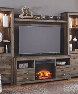 Ashley Furniture Signature Design Trinell Large TV Stand Rustic 63 Inch Fireplace Option Brown 0 1 300x360