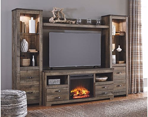 Ashley Furniture Signature Design Trinell Large TV Stand Rustic 63 Inch Fireplace Option Brown 0 1