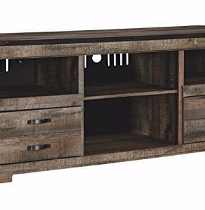Ashley Furniture Signature Design Trinell Large TV Stand Rustic 63 Inch Fireplace Option Brown 0 300x306