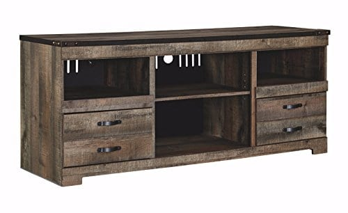 Ashley Furniture Signature Design Trinell Large TV Stand Rustic 63 Inch Fireplace Option Brown 0