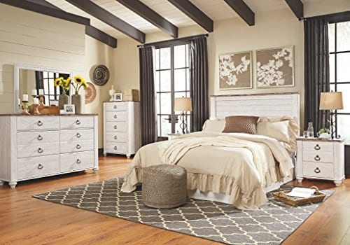 Ashley Furniture Signature Design Willowton Chest Of Drawers Contemporary Dresser Two Tone 0 1
