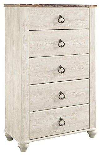 Ashley Furniture Signature Design Willowton Chest Of Drawers Contemporary Dresser Two Tone 0