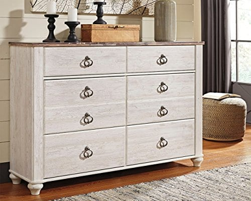 Ashley Furniture Signature Design Willowton Chest Of Drawers Contemporary Driftwood Inspired Dresser Two Tone Finish 0 0