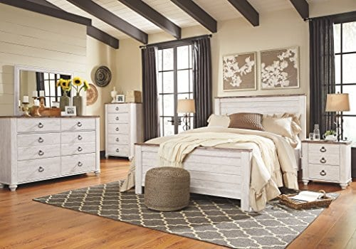 Ashley Furniture Signature Design Willowton Chest Of Drawers Contemporary Driftwood Inspired Dresser Two Tone Finish 0 2