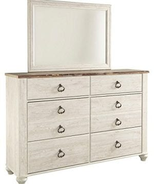 Ashley Furniture Signature Design Willowton Chest Of Drawers Contemporary Driftwood Inspired Dresser Two Tone Finish 0 300x360