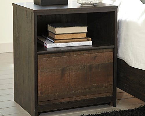 Ashley Furniture Signature Design Windlore Nightstand Contemporary 1 DrawerCubby 2 USB Charging Stations Power Cord Included Two Tone Brown Finish 0 2
