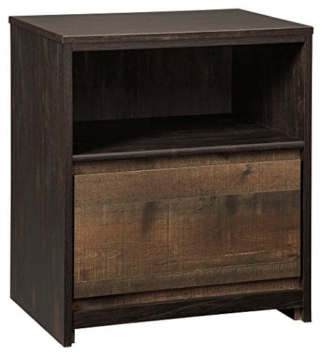 Ashley Furniture Signature Design Windlore Nightstand Contemporary 1 DrawerCubby 2 USB Charging Stations Power Cord Included Two Tone Brown Finish 0