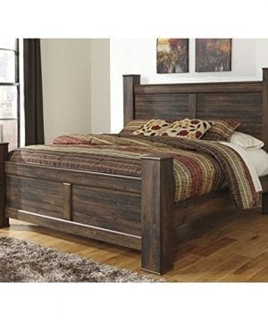 Ashley Quinden Wood King Poster Panel Bed In Dark Brown 0 300x360