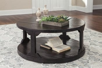 Ashley Rogness Round Cocktail Table In Rustic Brown 0