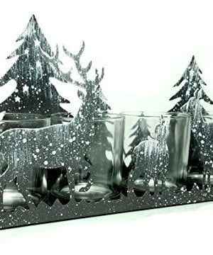 BANBERRY DESIGNS Rustic Candle Holder Deer Silhouette Candle Holder Antique Grey With White Snow Deer And Evergreen Trees Glass Votive Holder With Metal Forest Cutouts 0 300x360