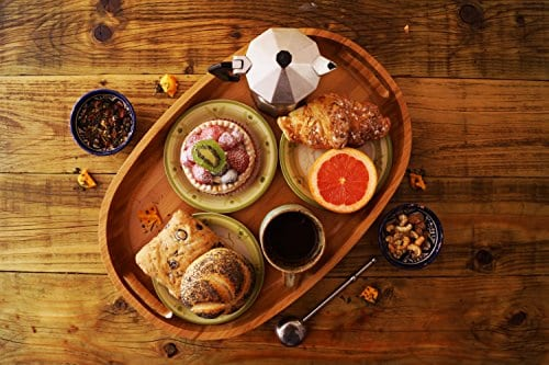 Bamboo Wood Serving Tray With Handles Rustic Farmhouse Decorative Oval Butler Tray For Food Coffee And Tea 17H X 1175W X 2H By Panda Wood 0 0