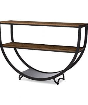 Baxton Studio Blakes Rustic Industrial Style Antique Textured Metal Distressed Wood Console Table Black 0 1 300x360