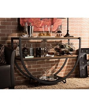 Baxton Studio Blakes Rustic Industrial Style Antique Textured Metal Distressed Wood Console Table Black 0 3 300x360