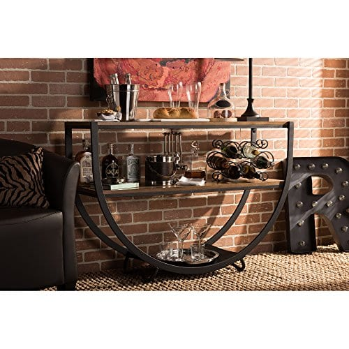 Baxton Studio Blakes Rustic Industrial Style Antique Textured Metal Distressed Wood Console Table Black 0 3