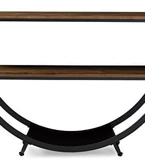 Baxton Studio Blakes Rustic Industrial Style Antique Textured Metal Distressed Wood Console Table Black 0 300x334