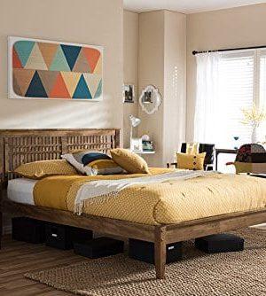Baxton Studio Loafey Mid-Century Modern Platform Bed in Walnut Finish  (King: 79.17 in. L x 79.37 in. W x 40.95 in. H)