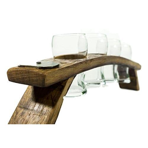 Beer Flight Set Carrier With 4 6 Ounce Brussels Beer Tasting Glasses 0