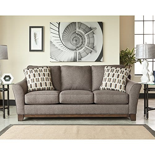 Benchcraft Janley Contemporary Living Room Sofa 2 Accent Pillows Included Slate Gray 0 0