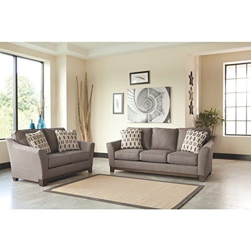 Benchcraft Janley Contemporary Living Room Sofa 2 Accent Pillows Included Slate Gray 0 1