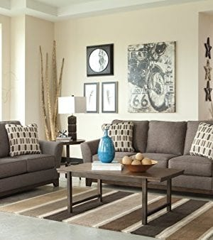 Benchcraft Janley Contemporary Living Room Sofa 2 Accent Pillows Included Slate Gray 0 2 300x338