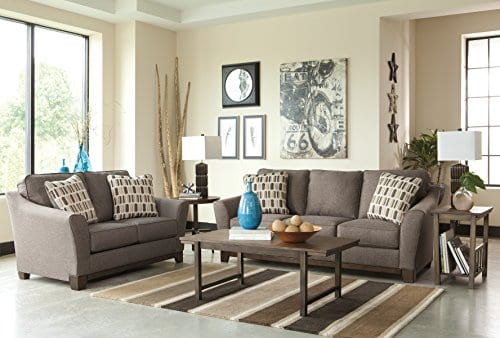 Benchcraft - Janley Contemporary Living Room Sofa - 2 Accent Pillows  Included - Slate Gray
