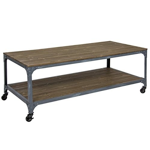 Best Choice Products Industrial Style Wheeled Coffee Table 0 0