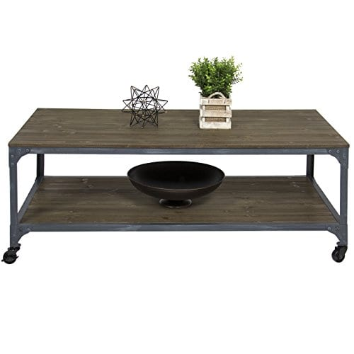 Best Choice Products Industrial Style Wheeled Coffee Table 0 1