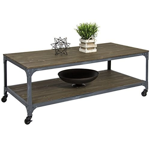 Best Choice Products Industrial Style Wheeled Coffee Table 0