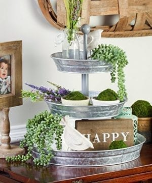 BisonHome 3 Tiered Serving Tray Large Rustic Decorative Galvanized Metal Home Farmhouse Dcor Display Stand Coffee Margarita Bar Party Appetizers Cupcake Stand Indoor Outdoor Use 0 1 300x360
