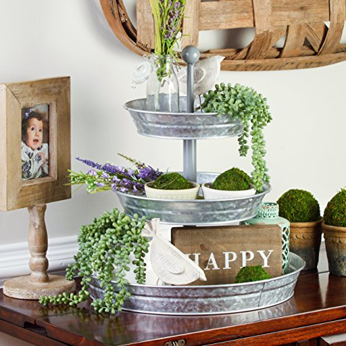 BisonHome 3 Tiered Serving Tray Large Rustic Decorative Galvanized Metal Home Farmhouse Dcor Display Stand Coffee Margarita Bar Party Appetizers Cupcake Stand Indoor Outdoor Use 0 1