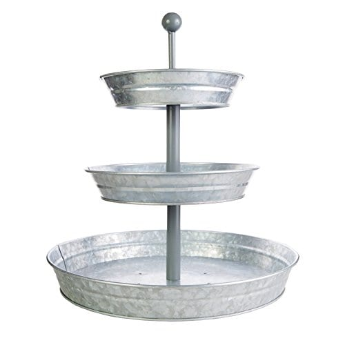 BisonHome 3 Tiered Serving Tray Large Rustic Decorative Galvanized Metal Home Farmhouse Dcor Display Stand Coffee Margarita Bar Party Appetizers Cupcake Stand Indoor Outdoor Use 0