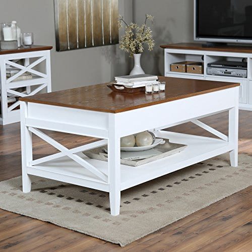 Bistro Coffee Tables White Lift Top Rectangle Wood Cocktail Living Room End Table Side Modern Furniture 0
