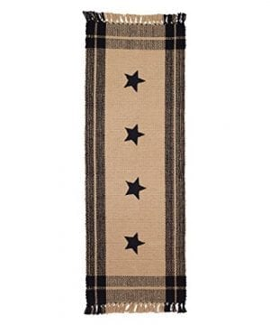 Black Simply Stars Plaid Border 13 X 36 Woven Cotton With Fringe Table Runner 0 300x360