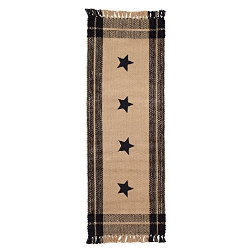 Black Simply Stars Plaid Border 13 X 36 Woven Cotton With Fringe Table Runner 0
