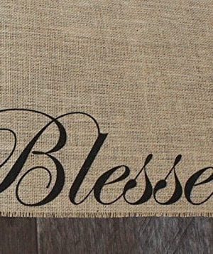Blessed Burlap Table Runner 12 Inches By 64 Inches 0 300x357