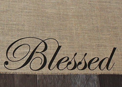 Blessed Burlap Table Runner 12 Inches By 64 Inches 0